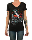 Women's Wild by Adi Tattooed Rockabilly Motorcycle Rider Chick V Neck T-Shirt