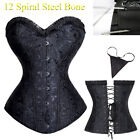 Brocade Overbust Boned Bustier Waist Training Corset Top Lingerie Plus Size S-9X
