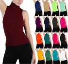 Kyпить Soft Sexy Seamless Ribbed Sleeveless Mock Neck Turtleneck Shaping Tank Top Shirt на еВаy.соm