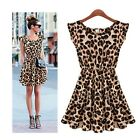 New Womens Ladies Girls Print Flared Mini Sleeveless Party skater dress Top