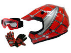 Youth Red Spider Net Dirt Bike Motocross Off-Road Helmet w/Goggles+Gloves~S,M,L