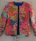 New Lilly Pulitzer 2-in-1 LILAH REVERSIBLE JACKET Down Puffer S M Brewster Blue