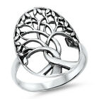 Sterling Silver Open Cut Tree Of Life With Leaves Celtic Roots Ring Size 3-11