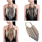 Statement Golden Silver Snake Chain Crystal Tassel Layers Bib Pendant Necklaces