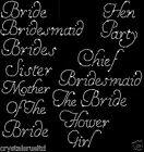 Wedding Bridesmaid transfer iron on diamante bride t shirt transfer hen party