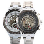 Men's Stainless Steel Band Skeleton Hand-winding Mechanical Sport Wrist Watches