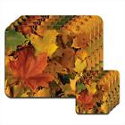 Beautiful Fallen Autumn Golden Orange Yellow Leaves Wooden Coasters & Placemats