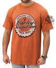 Harley-Davidson Distressed Vintage Logo Mens Orange Short Sleeve T-Shirt