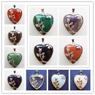 Wire Wrap Flower Mixed Stone Heart Pendant Bead MM1462