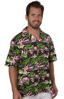 Benny's Mens Flamingos Hawaiian Shirt, Black