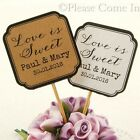 "DIY Personalised Double Sided White/Kraft Wedding Cupcake Topper ""Love is Sweet"""