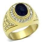 New Gold IP Stainless Steel Men's Dark Sapphire Blue Cabochon Ring - Sizes 8-14