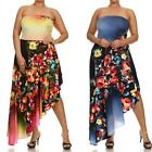 D17 - 1XL 2XL 3XL Plus Size Asymmetrical Hem Hi Low Long Floral Cocktail Dress