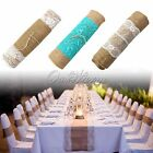 "12x108"" Rustic Burlap Lace Hessian Table Runner Natural Jute Wedding Table Decor"