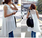 Charming Lady Girl Loose Sleeveless shirt Lace Back Irregular Hem Blouses