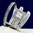0.66 CT Solitaire CZ Engagement Stainless Steel & Brass Wedding Band Ring Set