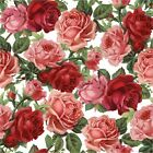 RED AND PINK ROSES IMAGE FABRIC/RUBBER BACK COASTERS  U PICK SET SIZE