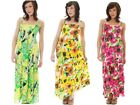 Womens 100% Cotton Floral Maxi Full Length Stretch Summer Dress Ladies Size 8-14