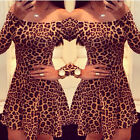 Sexy Women Off Shoulder Long Sleeve Leopard Mini Night Club Party Cocktail Dress