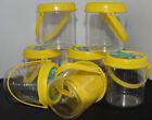 Empty clear plastic circular storage tubs with click on lid and handle FREE P+P