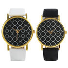 New Women's Men's Leatheroid Band Clover Printed Round Dial Quartz Wrist Watches
