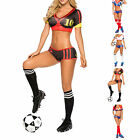 Sexy Football Soccer Player Cheerleader Outfit Crop Top Boxer Boyleg Shorts Set