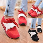 Womens Lace Up Velcro Splice Flats Casual Sport Running Trainers Sneakers Shoes