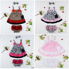 Baby Girls Ruffle bloomer+Headband Set Kids Nappy Cover Diaper Cover dress 0-12M
