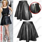 New Ladies Women Pu Leather Look Skater Skirt Zip Party Flarey Mini Skirts Dress