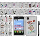 For LG Optimus Dynamic II L39C Cute Design PATTERN HARD Case Phone Cover + Pen
