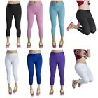 New Womens Cropped Cotton Summer Leggings 3/4 Length Sports Yoga Fitness Pants