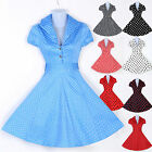 London FAST  Vintage Style 50s Rockabilly Tea Jive Polka Dot Gothic Prom Dresses