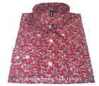 Relco Floral Shirt - FLRL2 - Red - 60s Button Down Collar Mod Skin 100% Cotton