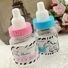 36 Mini Baby Bottle Personalised Zebra Theme Sticker Baby Shower Favours