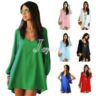 New Women Summer Casual Long Sleeve V Neck Mini Tops Shirt Loose Dress Blouse