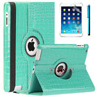 For Apple iPad 2 3 4 mini Air Crocodile Premium PU Leather Smart Case Teal Blue