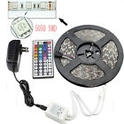 5M SMD RGB 5050 Waterproof LED Strip light 300 44 Key Remote 12V Supply Power