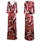 RED TAUPE & BLACK ABSTRACT Jersey MAXI DRESS Faux Wrap LONG Skirt BOHO vtg S-M-L