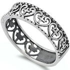 925 Sterling Silver Cross in Heart Vintage Design Wedding Band Ring Size 3-11