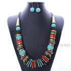 Vintage Charm Ethnic Ancient Bronze Turquoise Statement Bib Earrings Necklace