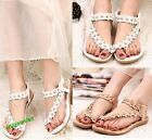 Womens Summer Bohemia Flower Sandals Flat Beach Shoes Thong Slippers Flip Flops