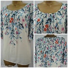 NEW M&S INDIGO TOP TUNIC BLOUSE KAFTAN TEAL BLUE IVORY FLORAL SUMMER 10 12 14