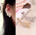 Retro Womens Crystal Butterfly Flower Clip Ear Cuff Stud Earring Wrap Jewelry