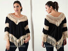 BLACK (91) Crochet FRINGE Top Bohemian Boho 3/4 Sleeve Shirt PLUS SIZE XL 1X 2X