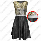 NEW WOMENS LADIES GOLD SEQUIN TOP BLACK PU SKATER DRESS MESH LEATHER LOOK SKIRTS