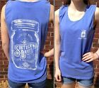 100% Southern Mason Jar Tank Top Blue Southern Drift Womens Sleeveless New