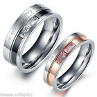 1PC Stainless Steel Ring Couple Rings Rhinestone Engagement Wedding