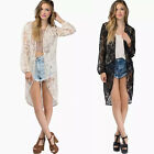 Women Perspective Lace Hollow Cardigan Sunscreen Shirt Tops Blouse GFY