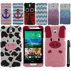For HTC Desire 610 FULL DIAMOND BLING CRYSTAL HARD Case Phone Cover + Pen