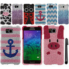 For Samsung Galaxy Alpha G850 DIAMOND BLING CRYSTAL HARD Case Phone Cover + Pen